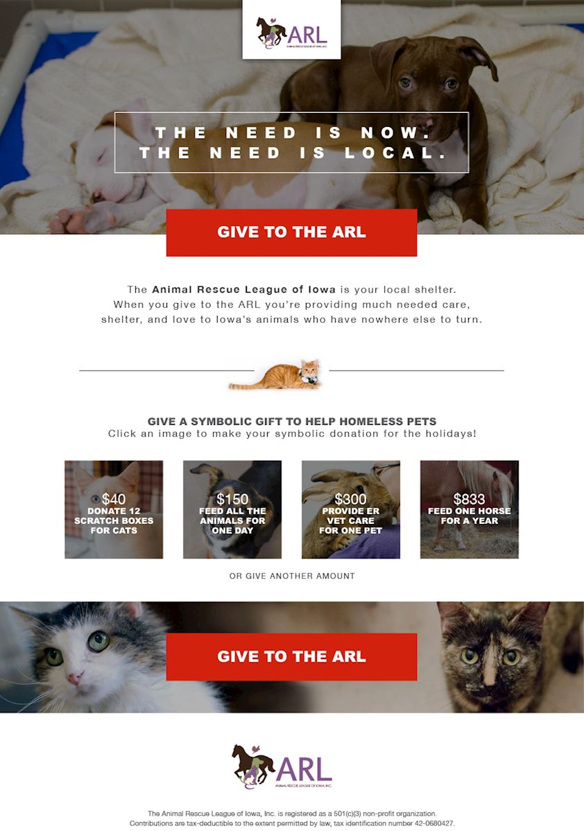 Give Arl Animal Rescue League Of Iowa