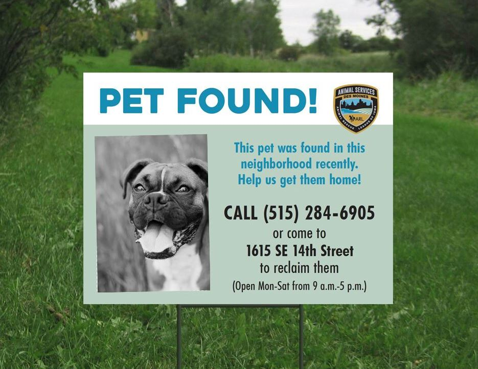 Pet Found sign